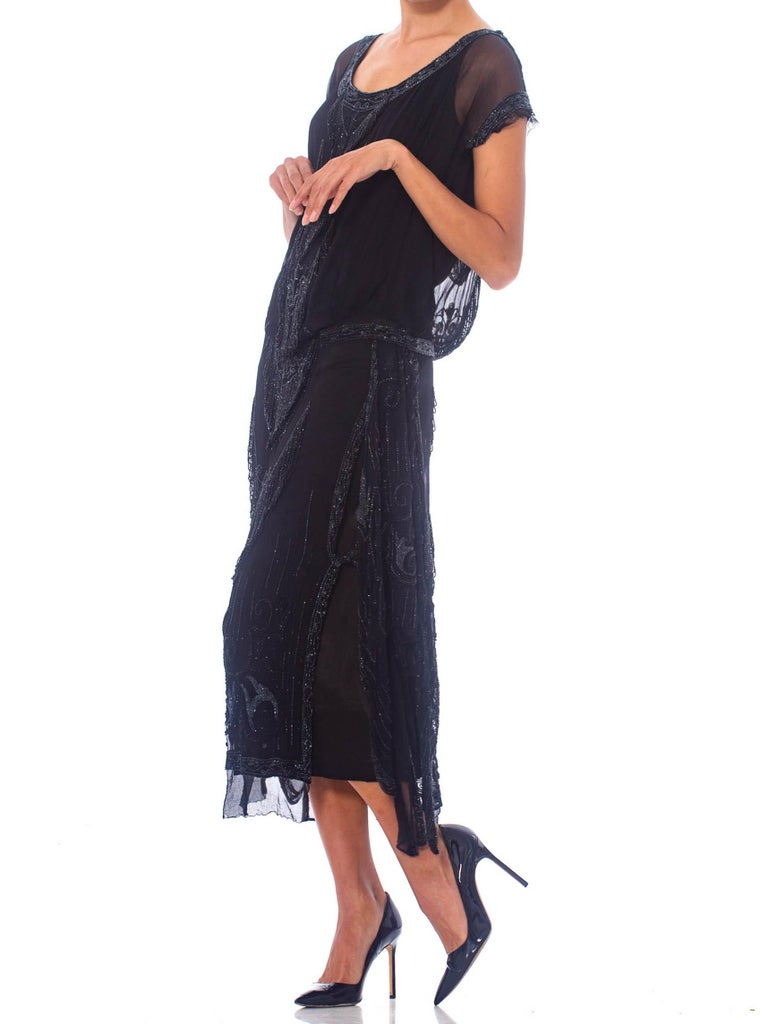 Women's 1920S Black Silk Chiffon Edwardian Style Paneled Cocktail Dress With Jet Beadin For Sale