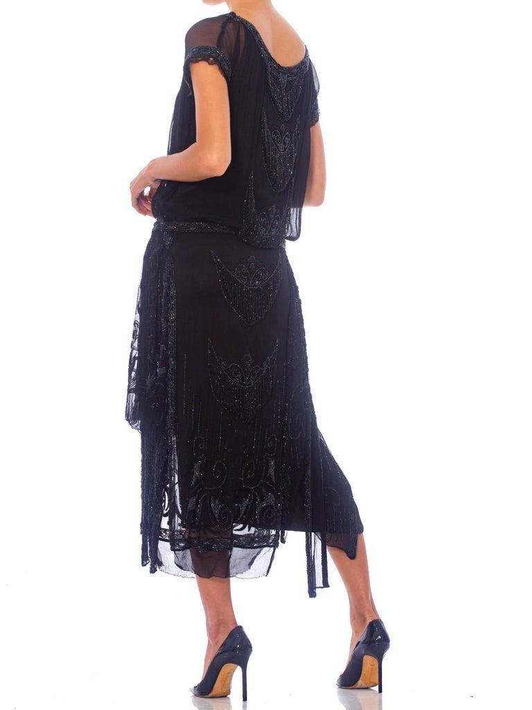 1920S Black Silk Chiffon Edwardian Style Paneled Cocktail Dress With Jet Beadin For Sale 1
