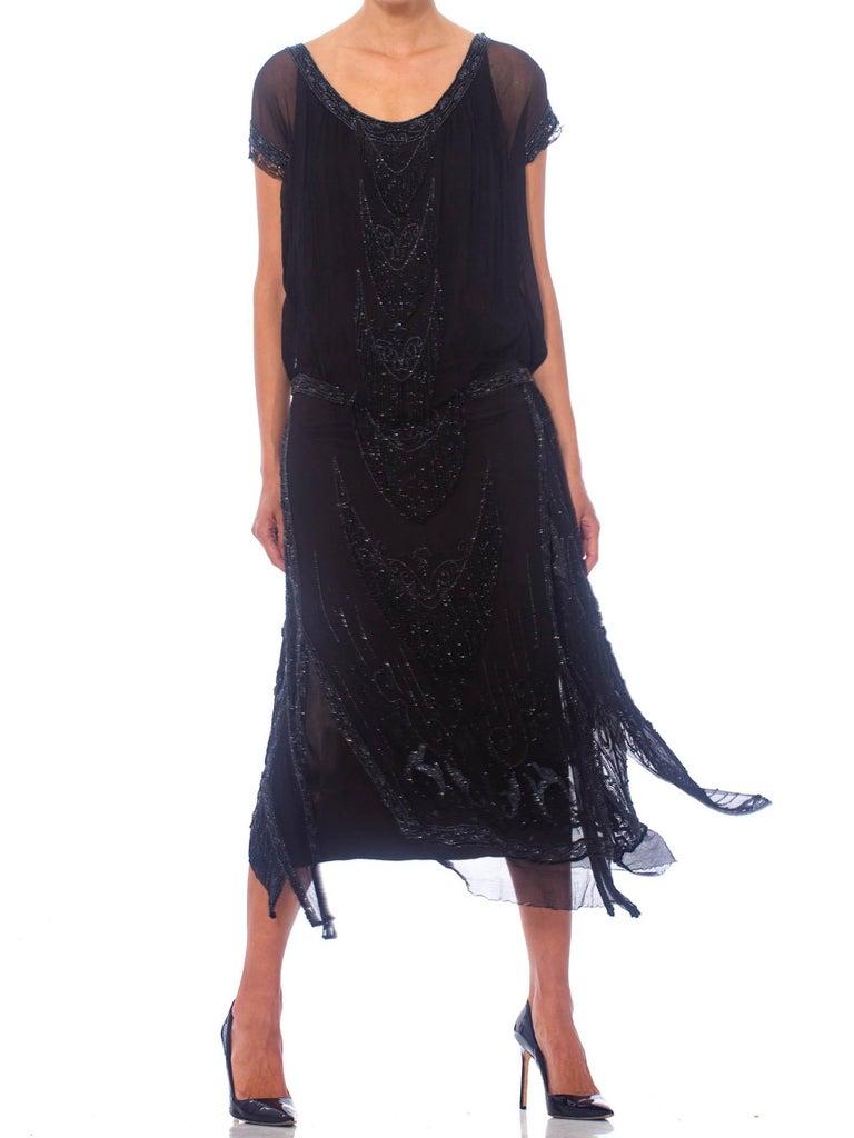 1920S Black Silk Chiffon Edwardian Style Paneled Cocktail Dress With Jet Beadin For Sale 2