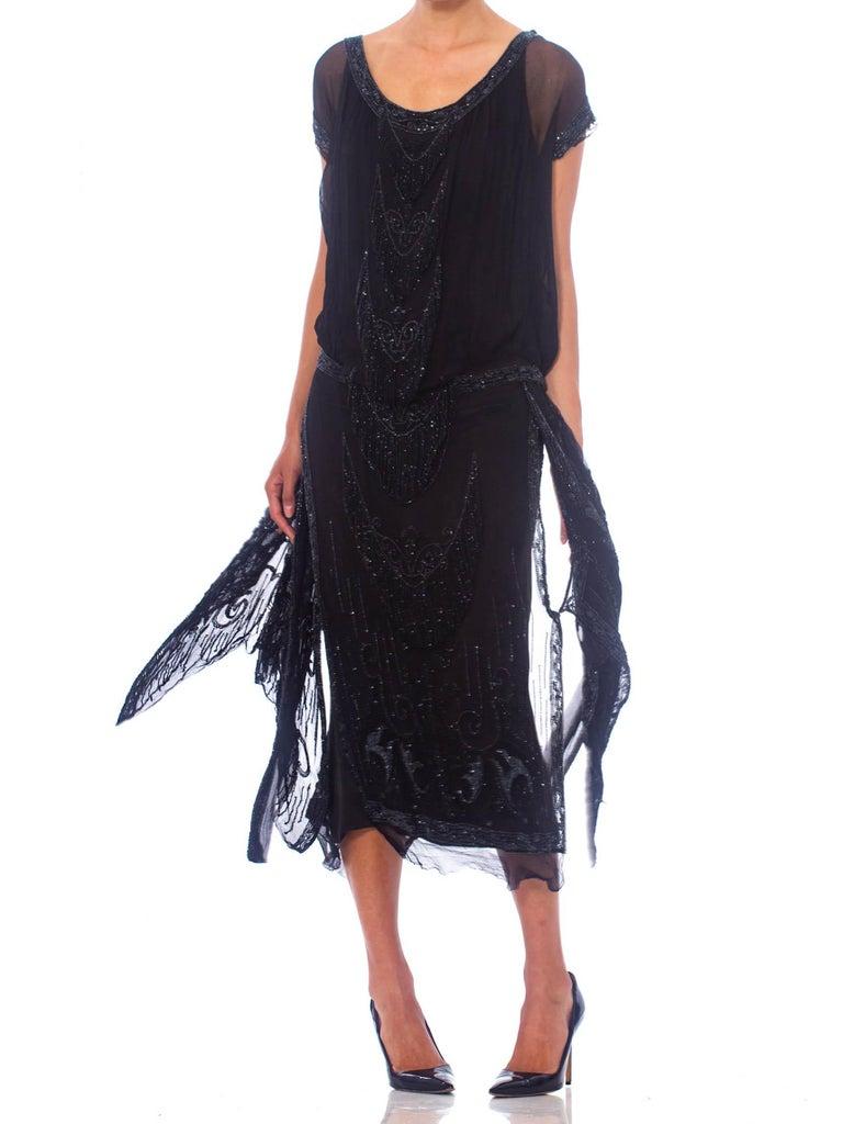 1920S Black Silk Chiffon Edwardian Style Paneled Cocktail Dress With Jet Beadin For Sale 3