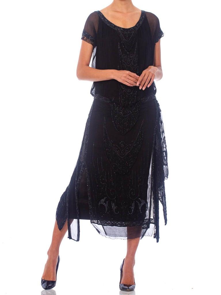 1920S Black Silk Chiffon Edwardian Style Paneled Cocktail Dress With Jet Beadin For Sale 4