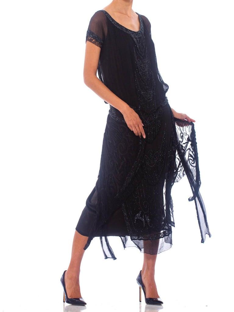 1920S Black Silk Chiffon Edwardian Style Paneled Cocktail Dress With Jet Beadin For Sale 5