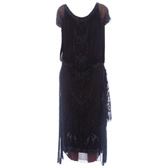1920S Black Silk Chiffon Edwardian Style Paneled Cocktail Dress With Jet Beadin