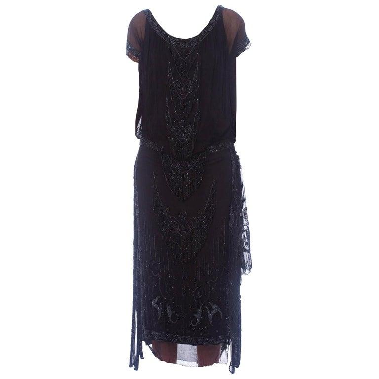 1920S Black Silk Chiffon Edwardian Style Paneled Cocktail Dress With Jet Beadin For Sale