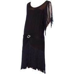 1920S Black Silk Chiffon & Fringe Flapper  Cocktail Dress With Rhinestone Buckle
