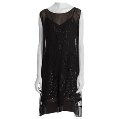 1920'S Black Silk Chiffon Sheer  Cocktail Dress With Floral Deco Sequins, Beads