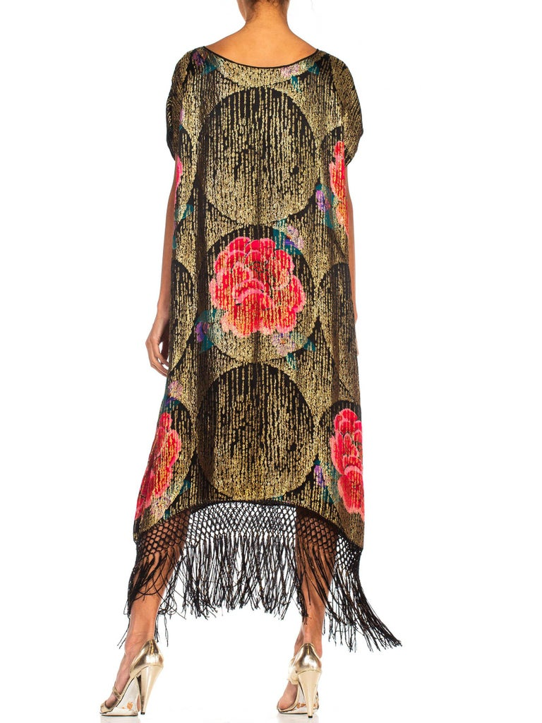 1920S Black Silk Gold Lamé Large Scale Floral Printed Cocktail Dress With Metal For Sale 6