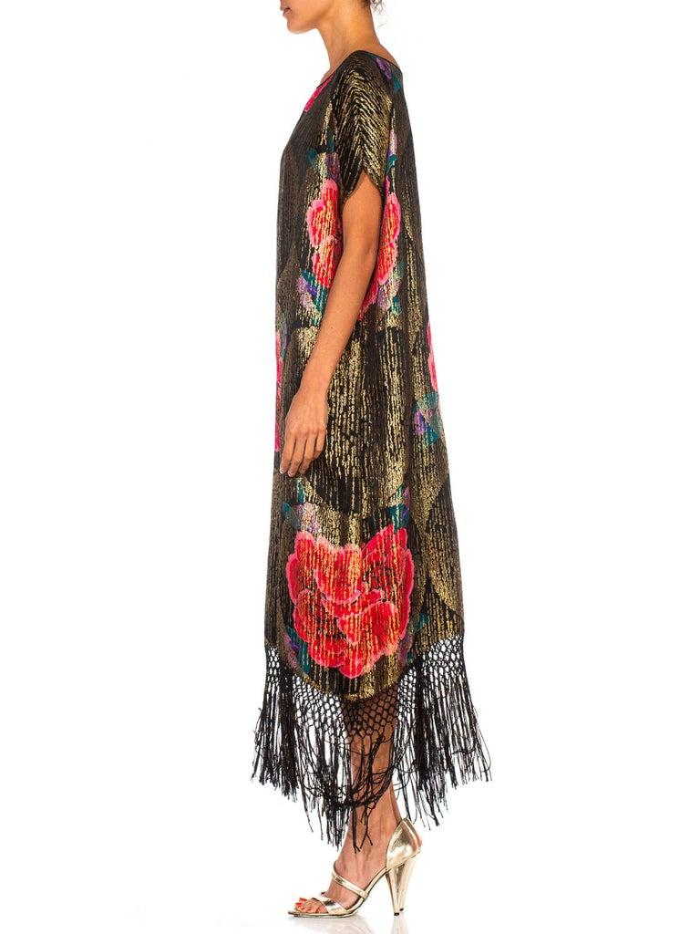 1920S Black Silk Gold Lamé Large Scale Floral Printed Cocktail Dress With Metallic Fringe