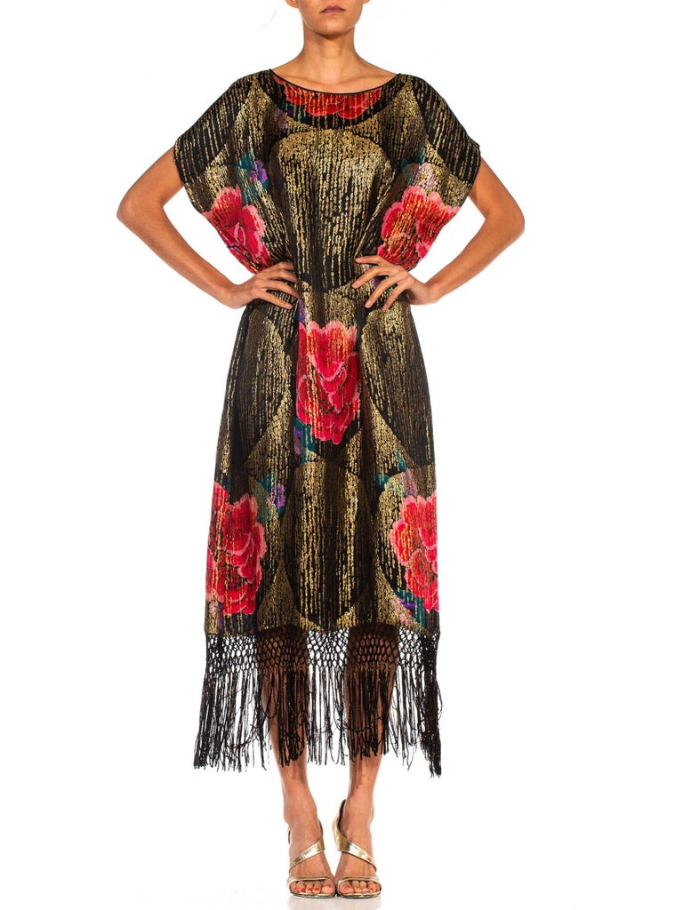 Women's 1920S Black Silk Gold Lamé Large Scale Floral Printed Cocktail Dress With Metal For Sale