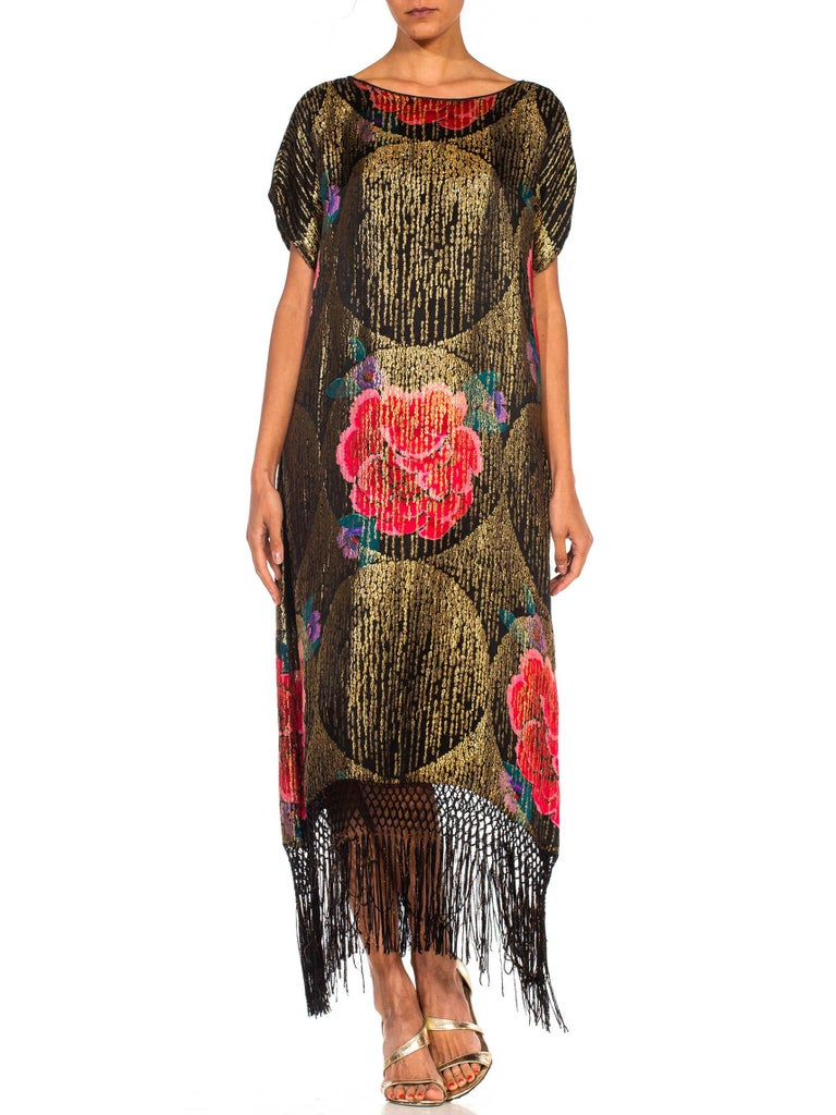1920S Black Silk Gold Lamé Large Scale Floral Printed Cocktail Dress With Metal For Sale 4