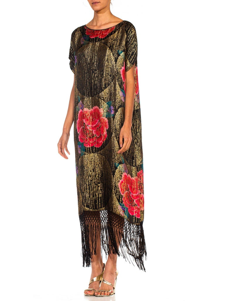 1920S Black Silk Gold Lamé Large Scale Floral Printed Cocktail Dress With Metal For Sale 5