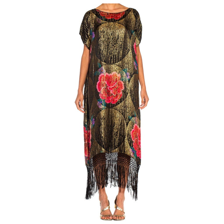 1920S Black Silk Gold Lamé Large Scale Floral Printed Cocktail Dress With Metal For Sale