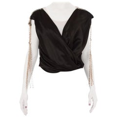 1920S Black Silk Satin Cowl Neck Blouse With Beaded Tassel Shoulders