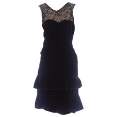 1920S Black Silk Velvet  & Lace Ruffled Hem Dress
