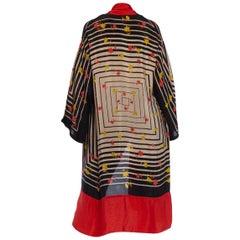 1920S Black & White Art Deco Rayon Kimono With Red Flowers Border