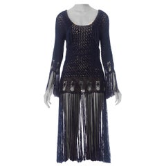 1920S Blue Rayon Hand Crochet Dress With Fringe