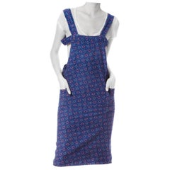 1920S Blue & Red Cotton Workwear Geo Printed Apron Dress