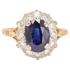 1920s Blue Sapphire Diamond Engagement Ring