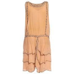 1920S Blush Pink Beaded Silk Chiffon Tiered Skirt Flapper Cocktail Dress