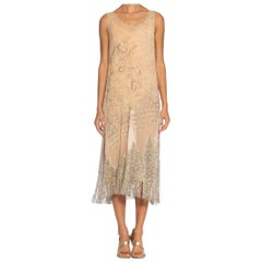 1920S Blush Pink Silk Chiffon Beaded With Pearls And Crystals Fringe Flapper Co