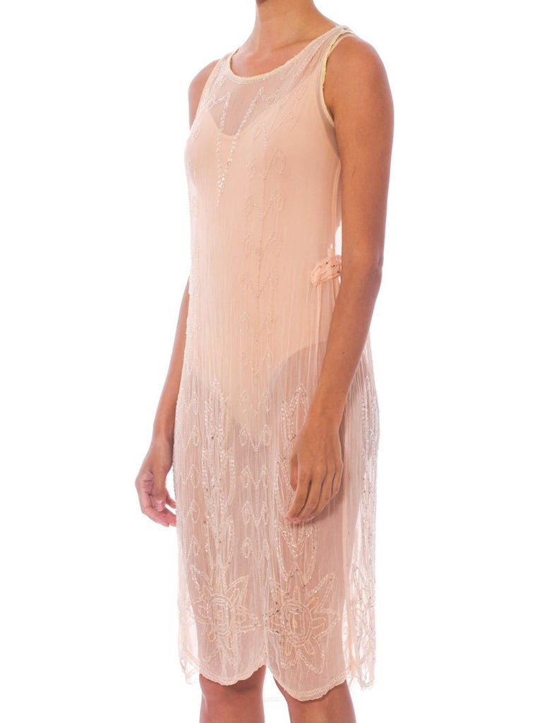 Beige 1920S Blush Pink Silk Chiffon Sheer Beaded Flapper Cocktail Dress For Sale
