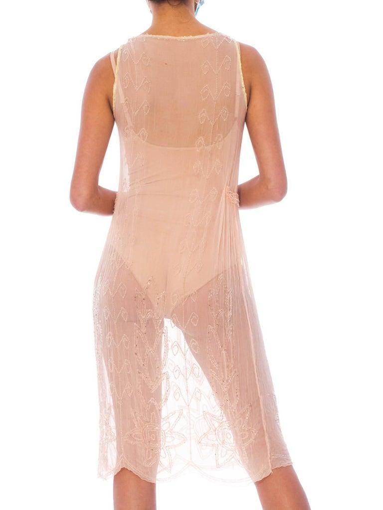 Women's 1920S Blush Pink Silk Chiffon Sheer Beaded Flapper Cocktail Dress For Sale