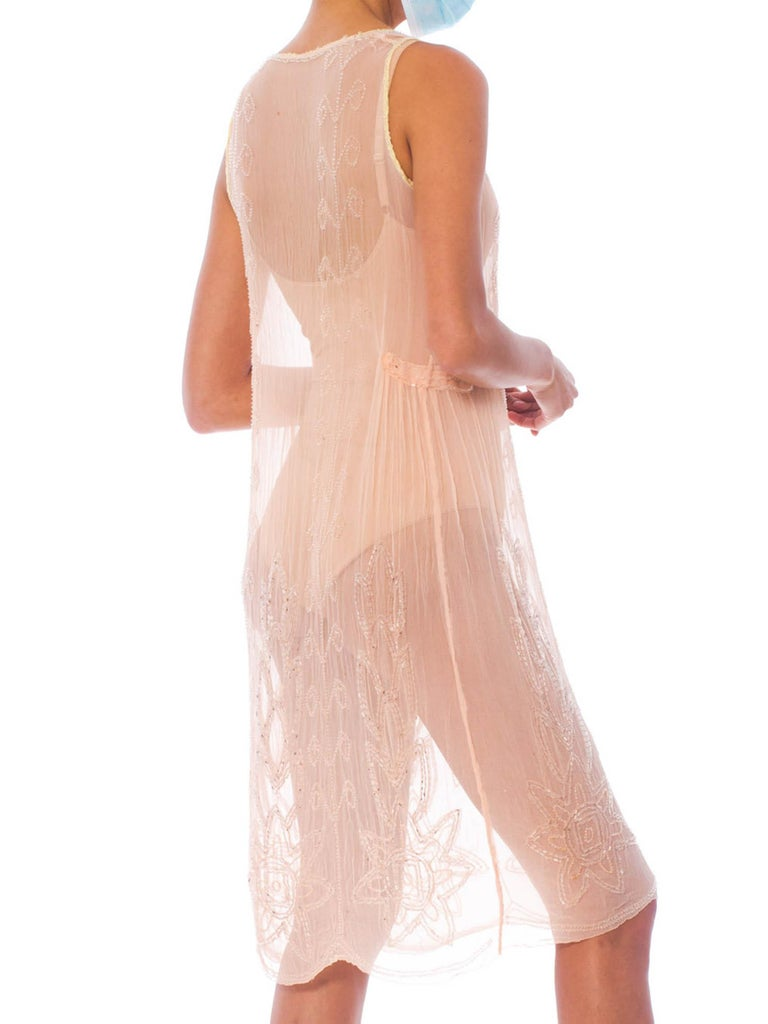 1920S Blush Pink Silk Chiffon Sheer Beaded Flapper Cocktail Dress For Sale 1