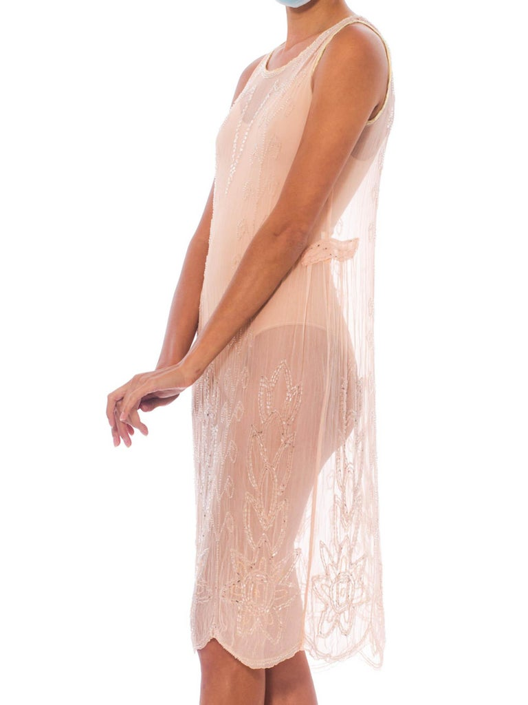 1920S Blush Pink Silk Chiffon Sheer Beaded Flapper Cocktail Dress For Sale 2
