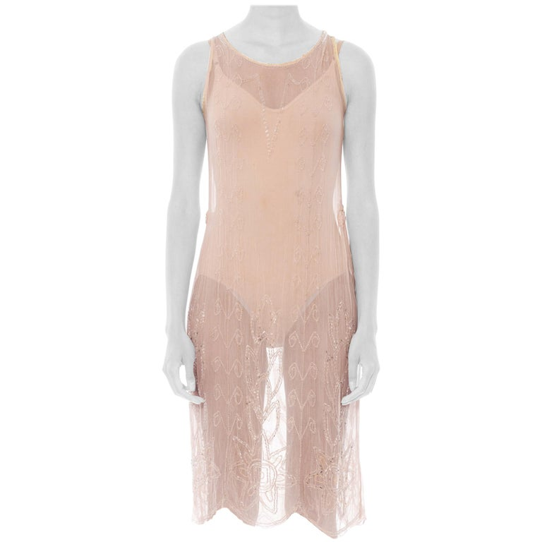 1920S Blush Pink Silk Chiffon Sheer Beaded Flapper Cocktail Dress For Sale