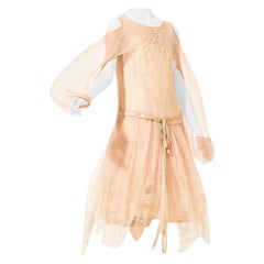 1920S Blush Pink Silk Mousseline  & Ivory Chantilly Lace Day Dress With Ribbon