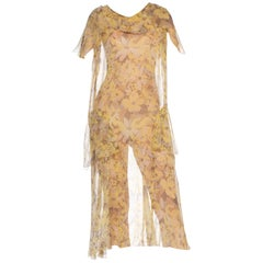 1920's Boho Floral Sheer Yellow Chiffon Printed Dress