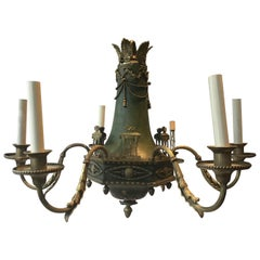 1920s Brass with Green Finish Classical Chandelier