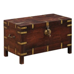 1920s British Colonial Trunk of Rosewood and Brass-Great Little Coffee Table