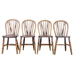 1920s British Wooden Farmhouse Dining Chairs, Set of Four