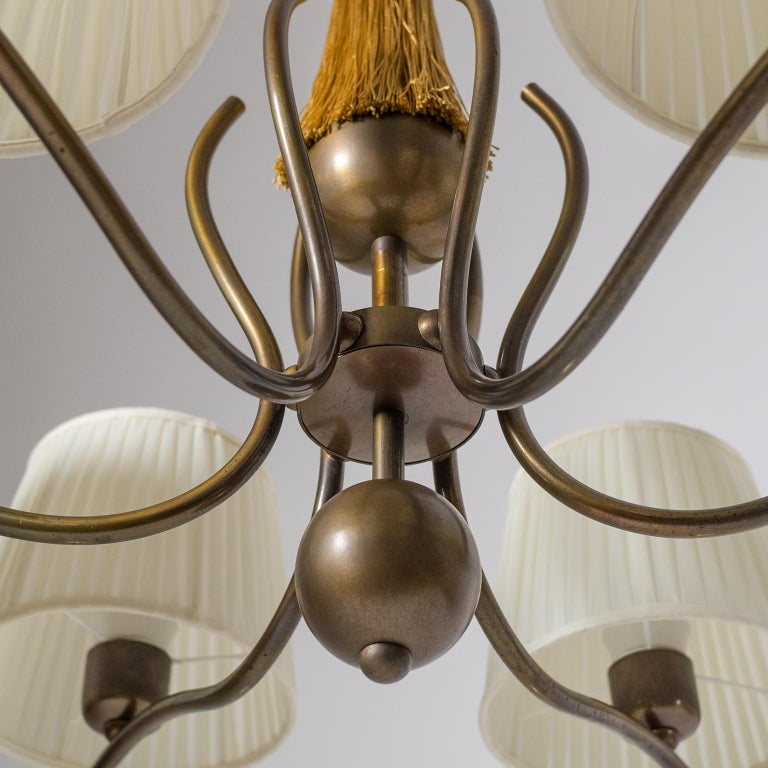Early 20th Century 1920s Bronze Chandelier For Sale