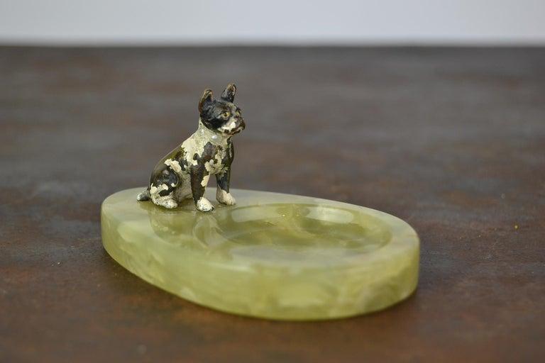 Art Nouveau 1920s Bronze French Bulldog on Onyx Ashtray, Art Deco For Sale