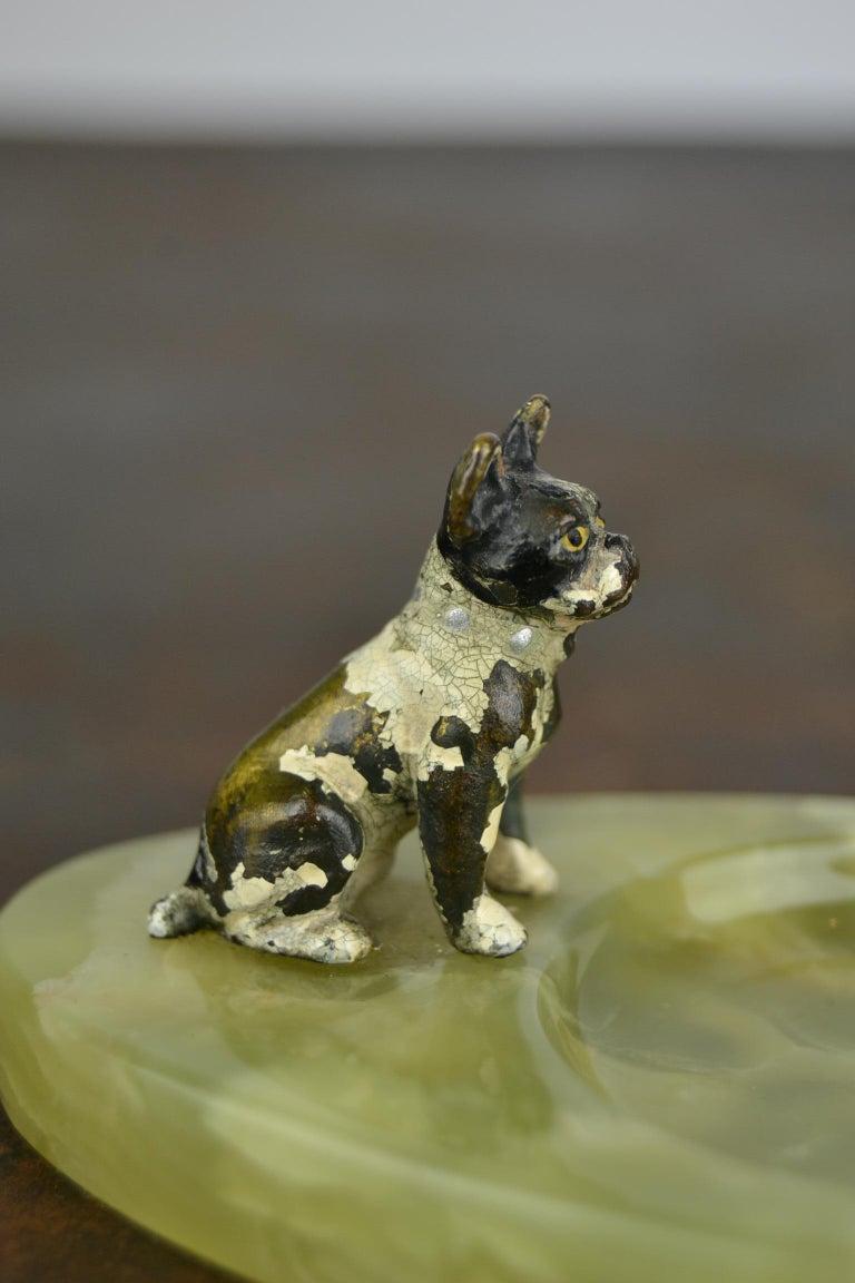 European 1920s Bronze French Bulldog on Onyx Ashtray, Art Deco For Sale