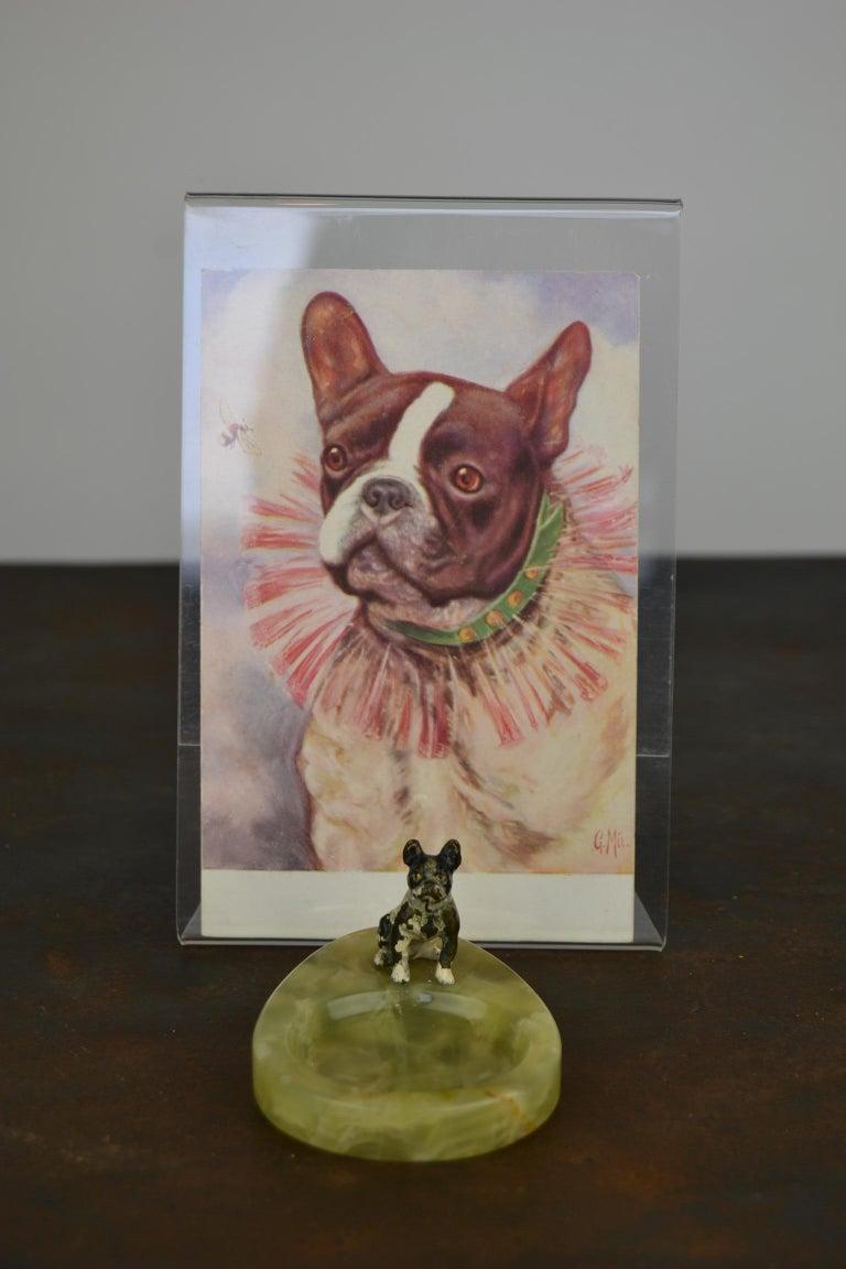 1920s Bronze French Bulldog on Onyx Ashtray, Art Deco For Sale 1