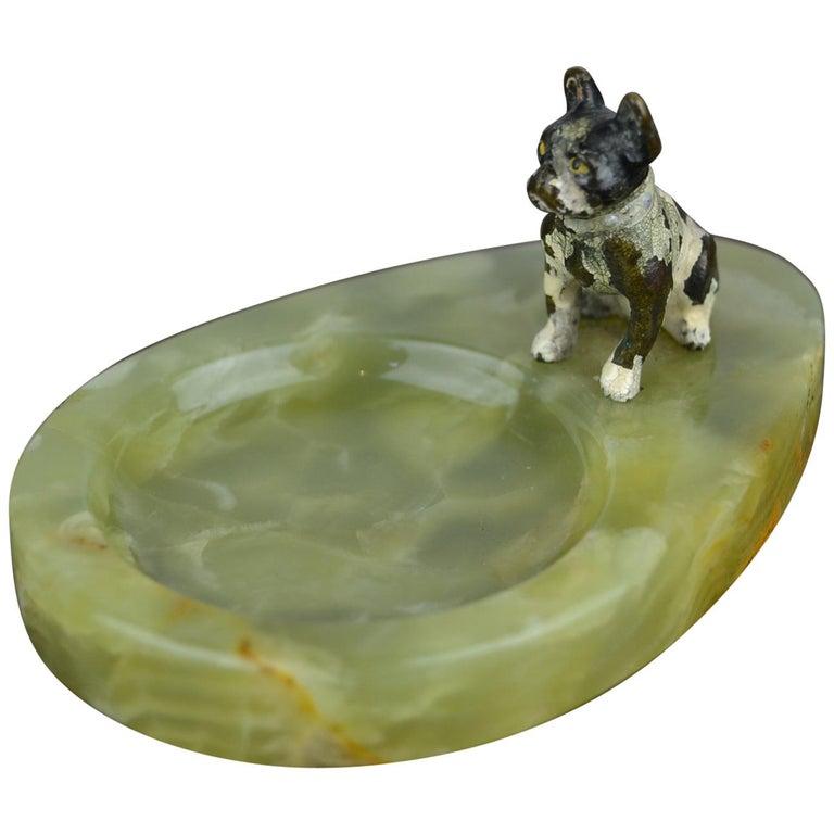 1920s Bronze French Bulldog on Onyx Ashtray, Art Deco For Sale