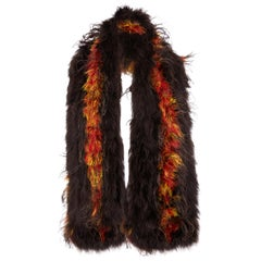 1920s Brown and Orange Maribou Feather Stole