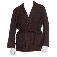 1920S Brown & Grey Wool Plaid Men's At Home Smoking Jacket