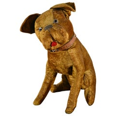 Antique Bulldog Toy, Straw Stuffed Velvet, 1920s, Europe