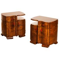 1920s, Burl Wood Art Deco Bedside Tables