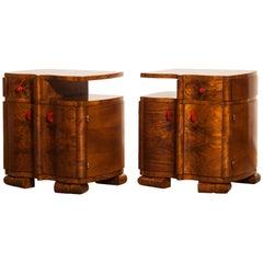 1920s Burl Wood Art Deco Bedside Tables