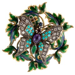 1920s Butterfly Amethyst Turquise Enamel and Diamond Brooch