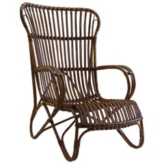 1920s Cane and Rattan Lounge Chair No 2