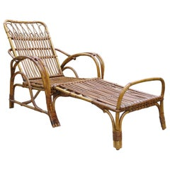 1920s Cane and Rattan Reclining Lounger Chair and Footstool