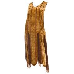 1920S Caramel Brown Silk Burnout Velvet  & Chiffon Beaded Flapper Cocktail Dress
