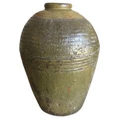1920s Carved Ceramic Urn with Maker's Mark