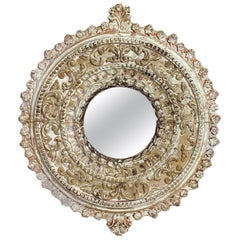 1920's Carved Italian Circular Wooden Mirror